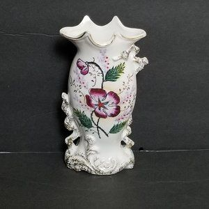Vintage White Colorful Floral Japan Small Vase